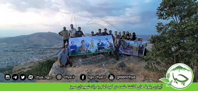 آبیاری بلوط های کاشته شده در کوه امام به یاد شهیدان سبز