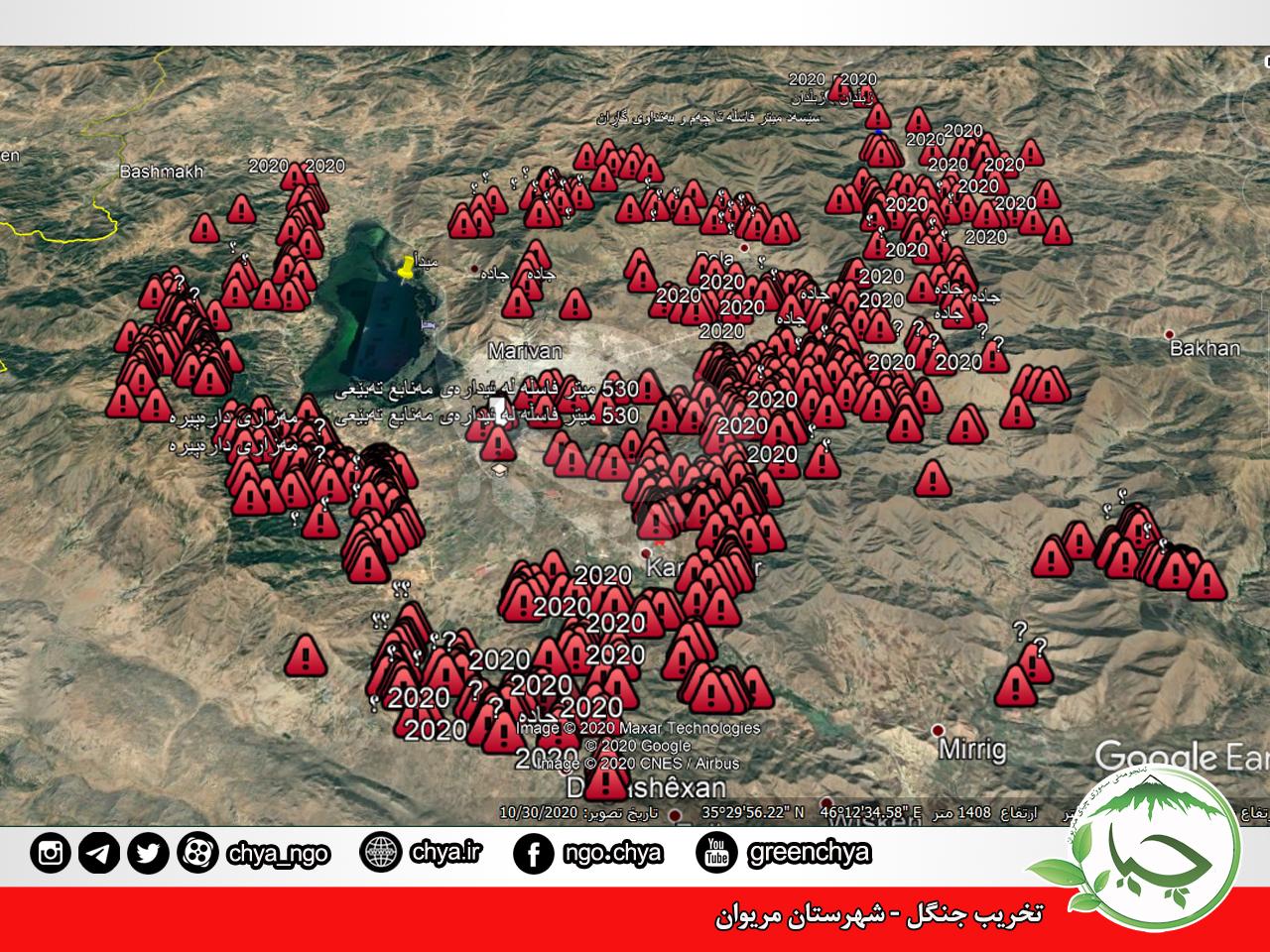 شناسایی بیش از ۶۵۰ مورد تخریب جنگل در شهرستان مریوان و حومه.